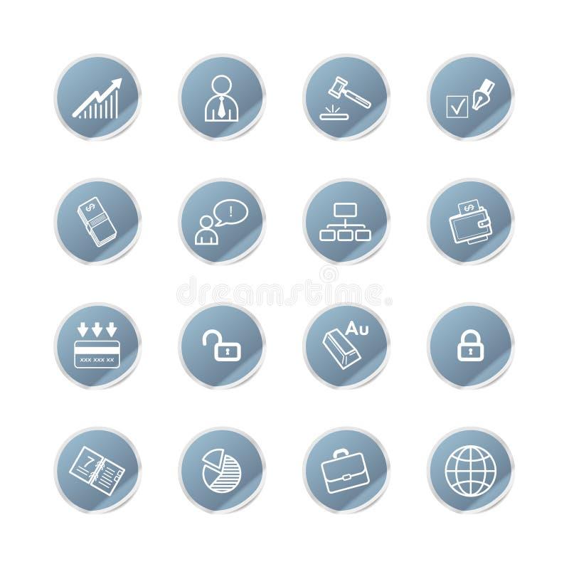Icone blu di affari dell'autoadesivo illustrazione vettoriale