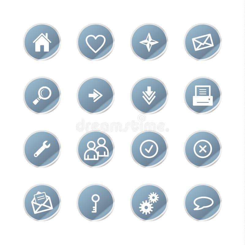 Icone blu di Web dell'autoadesivo royalty illustrazione gratis