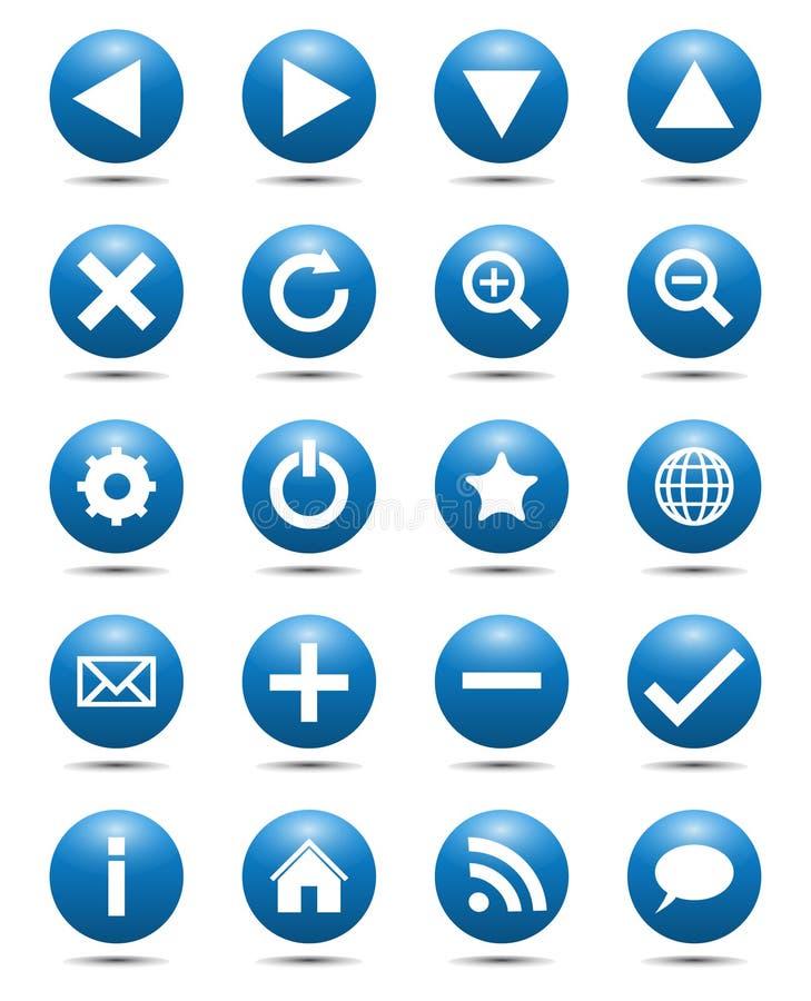 Icone blu di Web di percorso illustrazione vettoriale