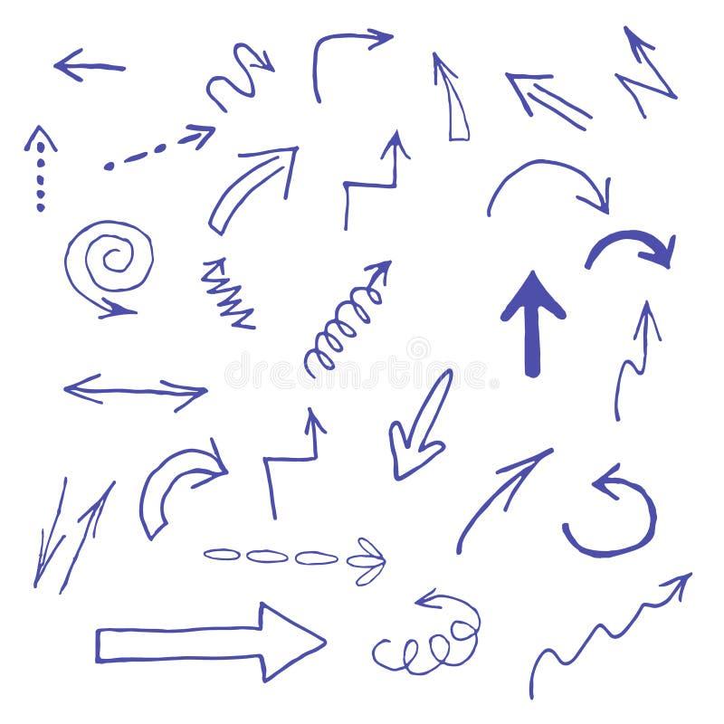 Icone blu disegnate a mano delle frecce messe su bianco immagine stock libera da diritti