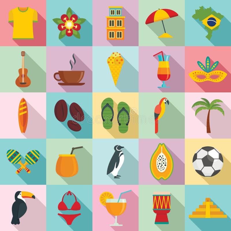 Icone Brasile impostate, stile piatto royalty illustrazione gratis
