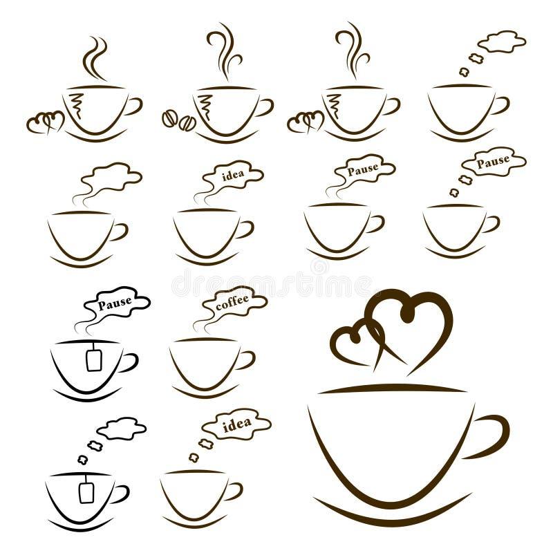 Icone caffè di web ed insieme di tè illustrazione vettoriale