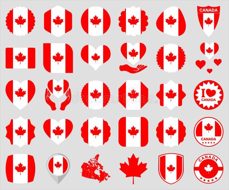 Icone canadesi della bandiera illustrazione di stock