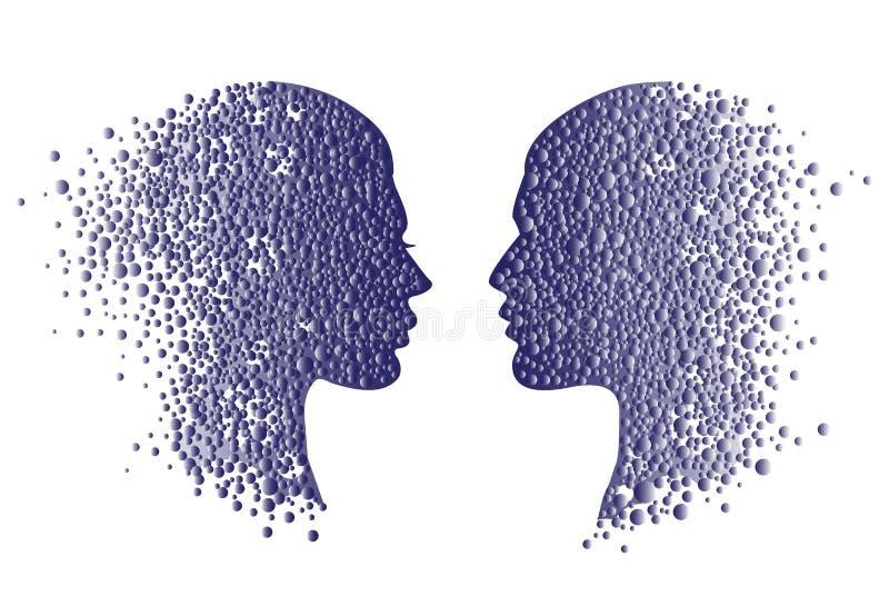 Icone cape della donna e dell'uomo Fronte astratto delle coppie con i cerchi di pendenza illustrazione di stock