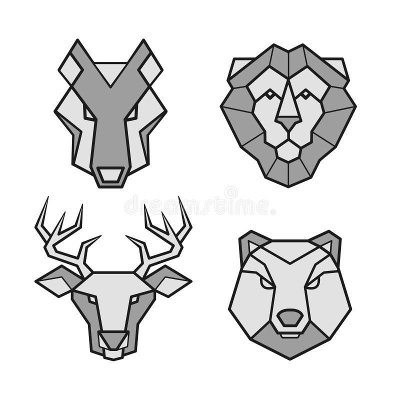 Icone cape geometriche degli animali selvatici messe illustrazione vettoriale