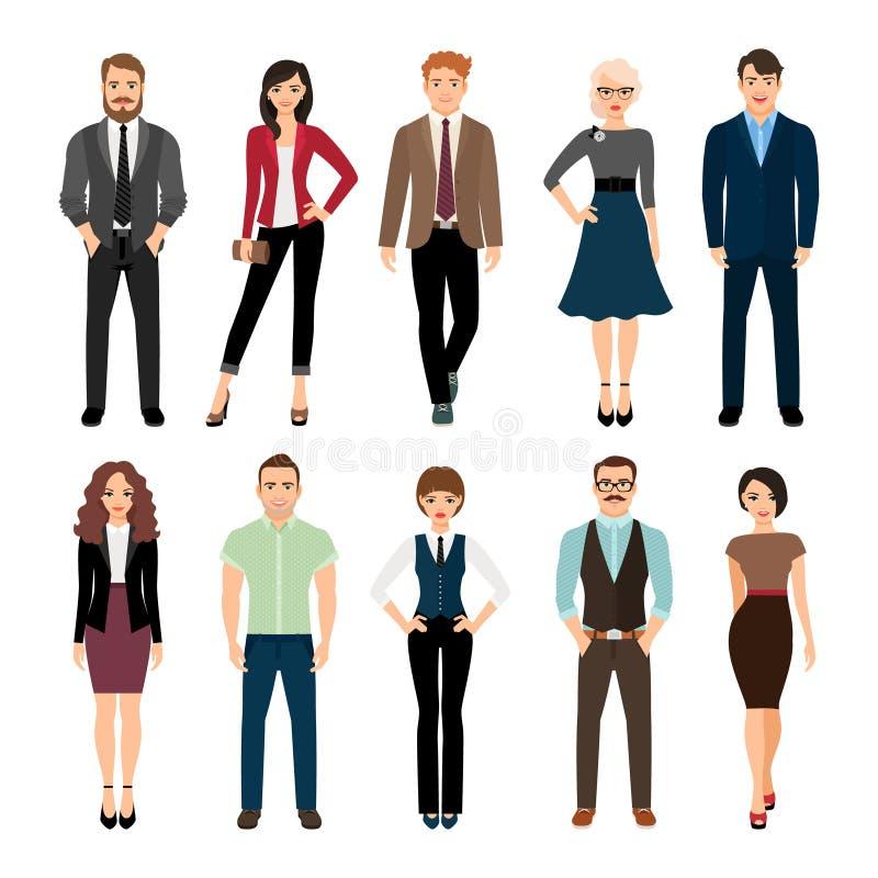 Icone casuali della gente dell'ufficio messe illustrazione vettoriale
