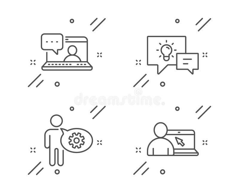 Icone chat di Cogwheel, Idea lampada e Friends Segno educativo online Vettore royalty illustrazione gratis