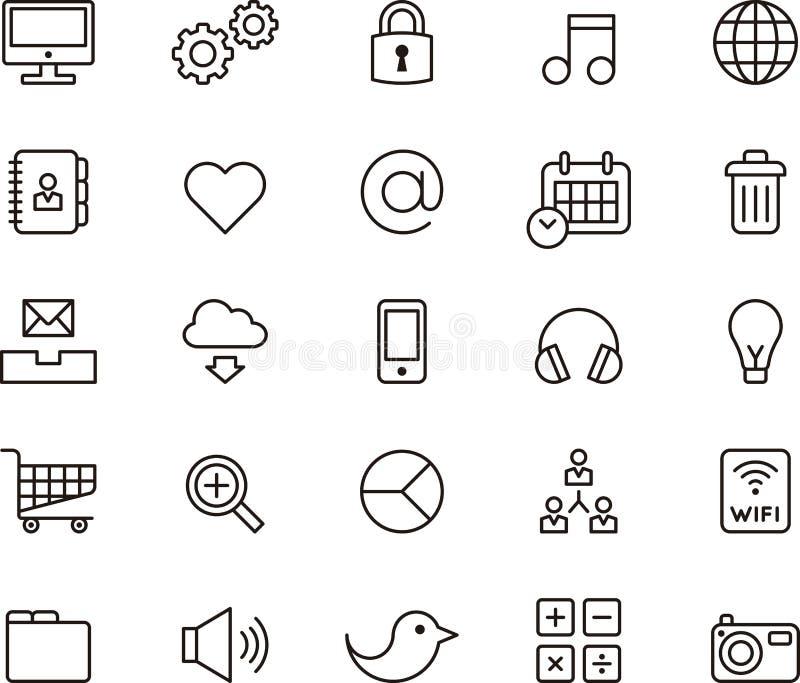Icone che descrivono media e comunicazione sociali royalty illustrazione gratis