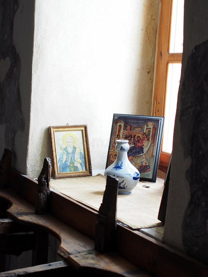 Icone, chiesa greca dell'isola fotografia stock libera da diritti