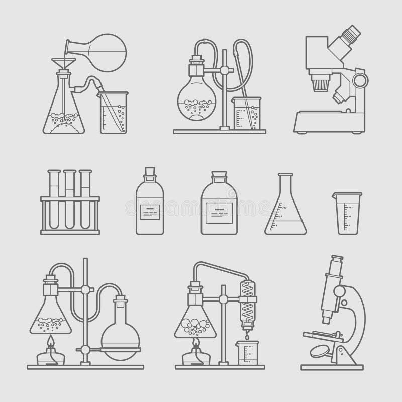 Icone chimiche della cristalleria messe illustrazione vettoriale
