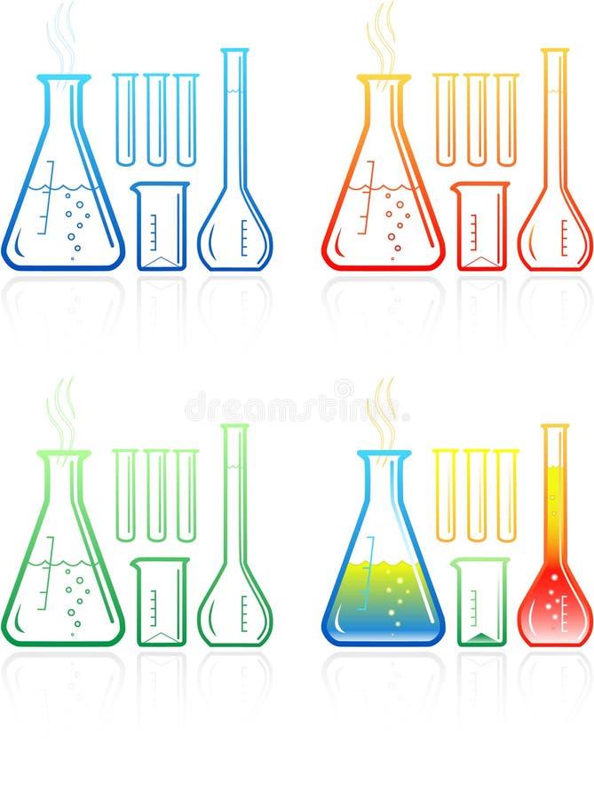 Icone chimiche delle provette di vettore royalty illustrazione gratis