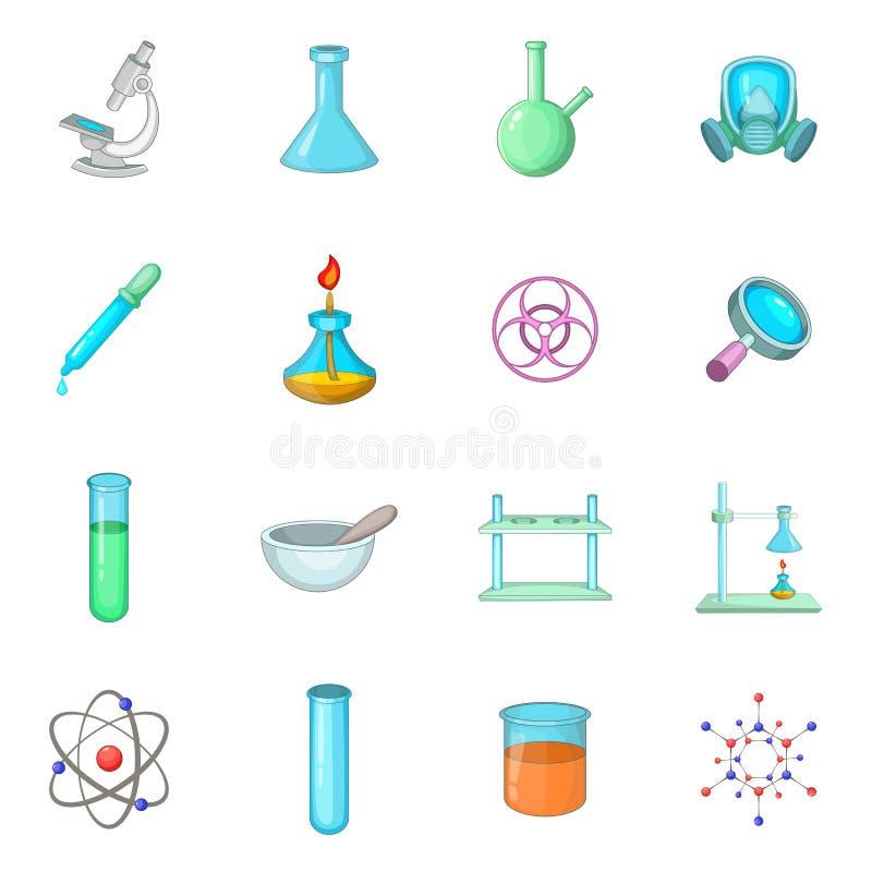 Icone chimiche messe, stile del laboratorio del fumetto illustrazione vettoriale