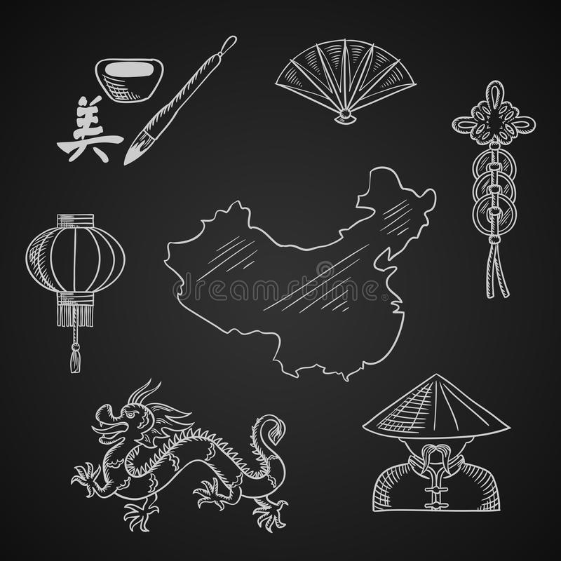 Icone cinesi di arte e della cultura intorno ad una mappa royalty illustrazione gratis