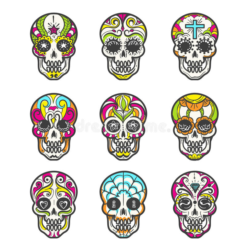 Icone colorate del cranio dello zucchero messe illustrazione di stock