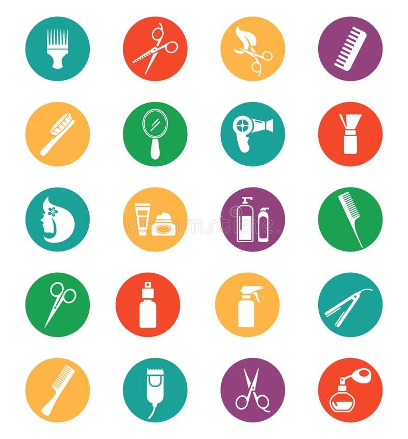 Icone colorate dell'attrezzatura di lavoro di parrucchiere illustrazione vettoriale