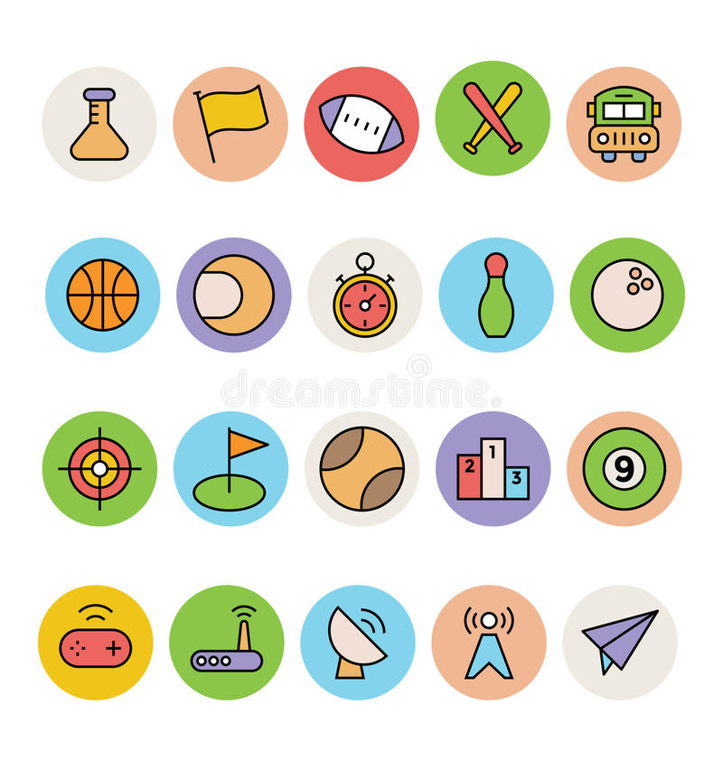 Icone colorate di base 10 di vettore royalty illustrazione gratis
