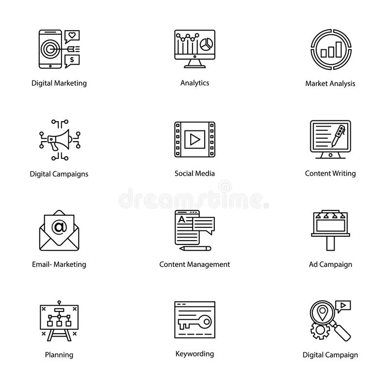 Icone colorate di Internet e dell'introduzione sul mercato di Digital illustrazione vettoriale