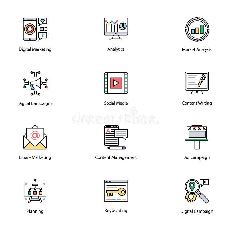 Icone colorate di Internet e dell'introduzione sul mercato di Digital royalty illustrazione gratis