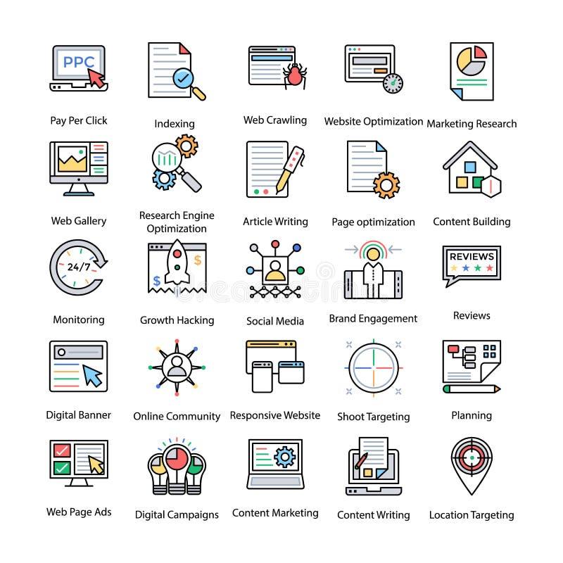 Icone colorate messe di Internet e dell'introduzione sul mercato di Digital illustrazione di stock