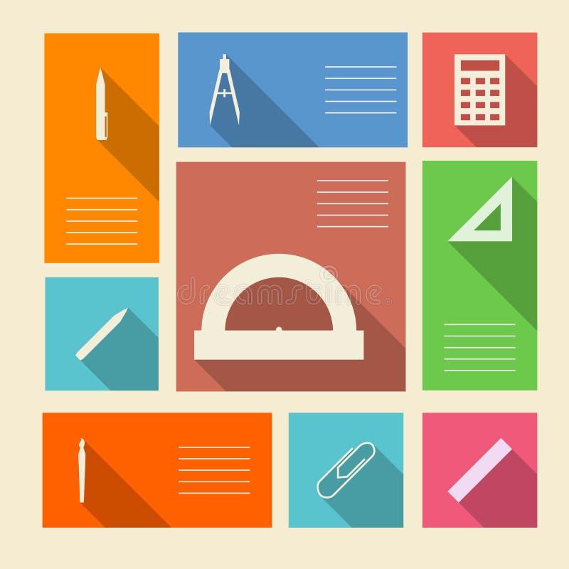Icone colorate per i rifornimenti di scuola con il posto per testo illustrazione di stock