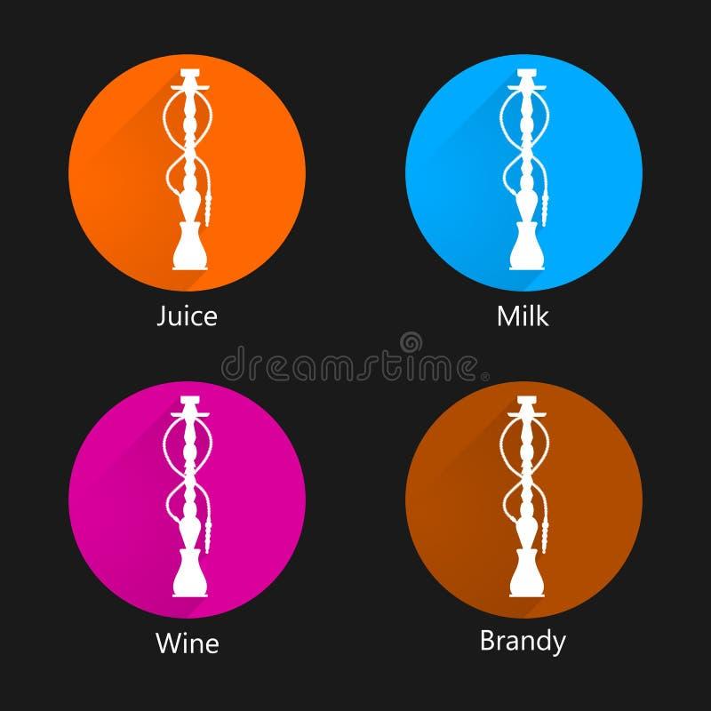 Icone colorate per il narghilé royalty illustrazione gratis