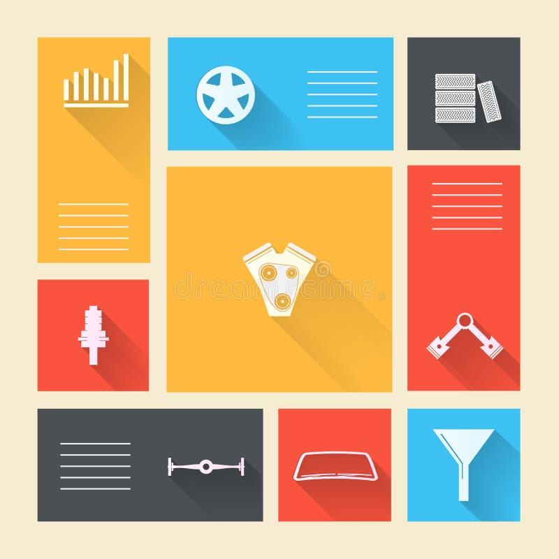 Icone colorate per la riparazione automatica con il posto per testo illustrazione di stock