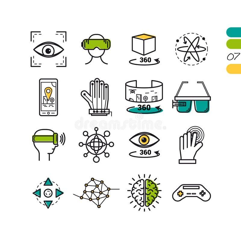 Icone colorate realtà virtuale lineare stabilita illustrazione vettoriale