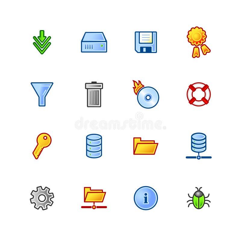 Icone Colourful del file server illustrazione vettoriale