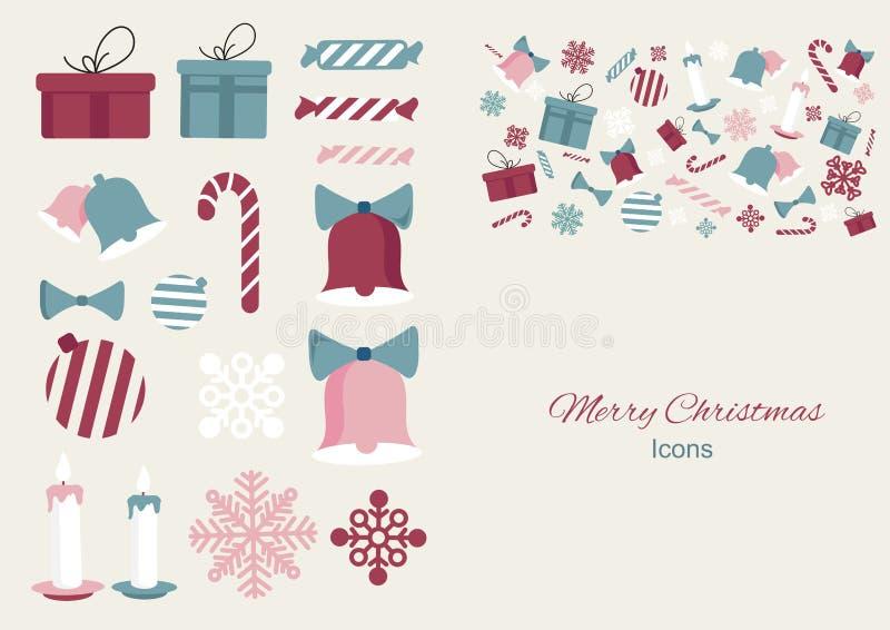 Icone colourful dell'elemento di Buon Natale per la vostra progettazione Progettazione dell'illustrazione di vettore illustrazione vettoriale