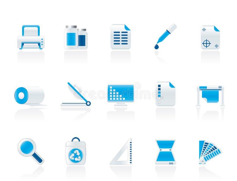 Icone commerciali della stampa illustrazione vettoriale
