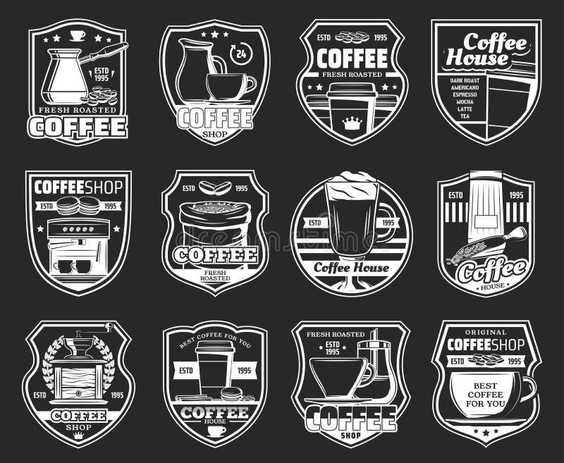 Icone con la macchina di caffè espresso, tazze calde del caffè della bevanda illustrazione vettoriale