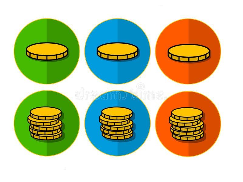 Icone con le monete immagini stock