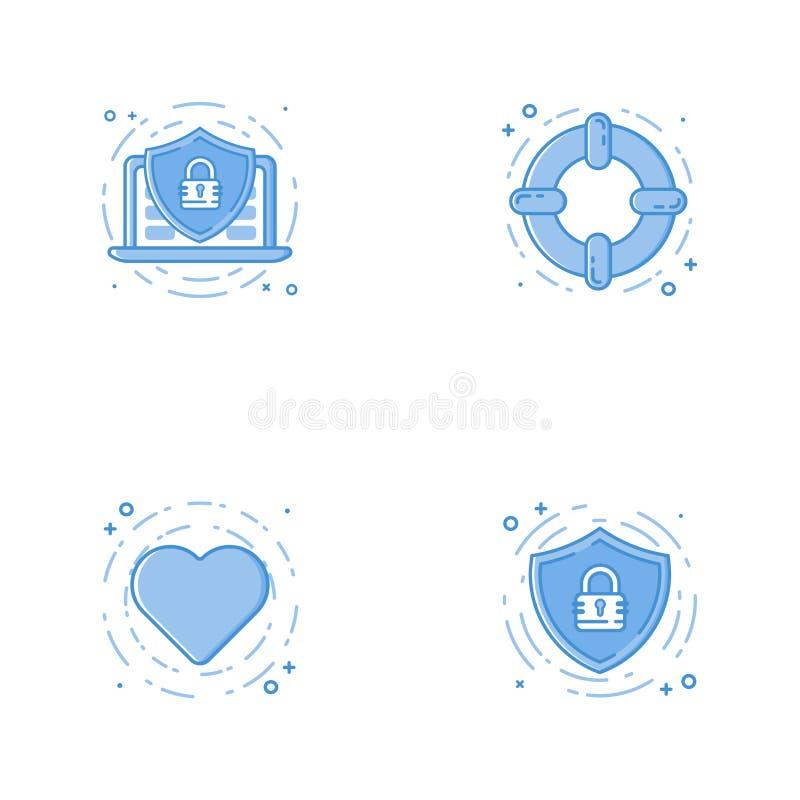 Icone con lo schermo, il computer portatile, il cerchio di aiuto ed il cuore royalty illustrazione gratis