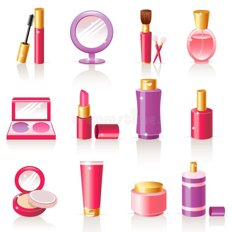 Icone cosmetiche illustrazione vettoriale