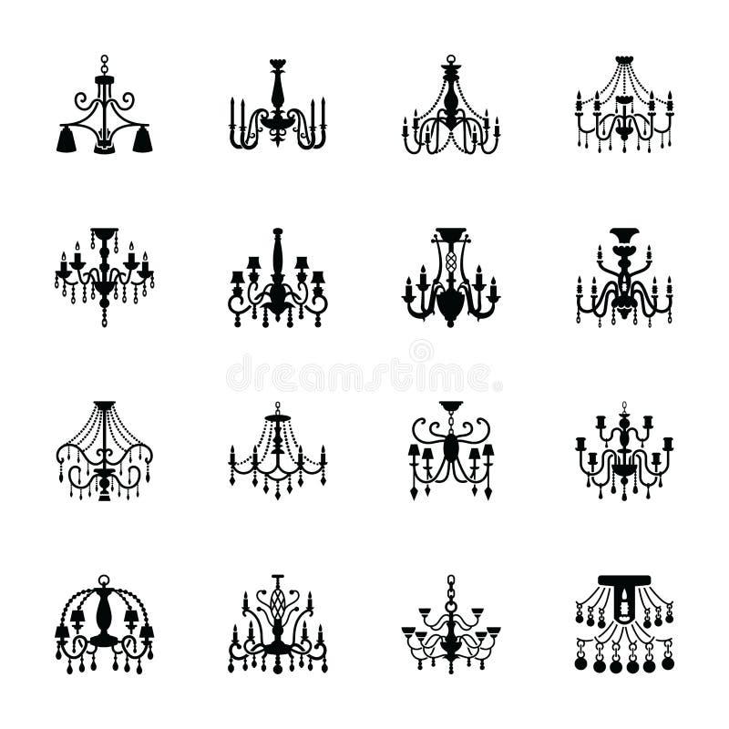 Icone a cristallo del solido del candeliere delle icone piane dei veicoli illustrazione vettoriale