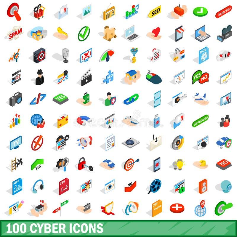 100 icone cyber messe, stile isometrico 3d royalty illustrazione gratis