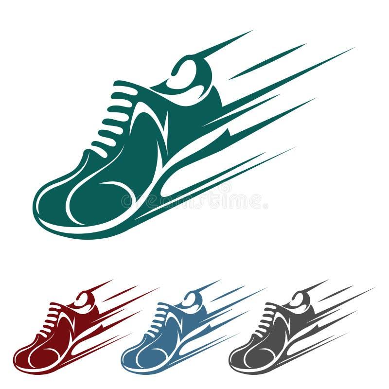 Icone d'accelerazione della scarpa da corsa illustrazione di stock