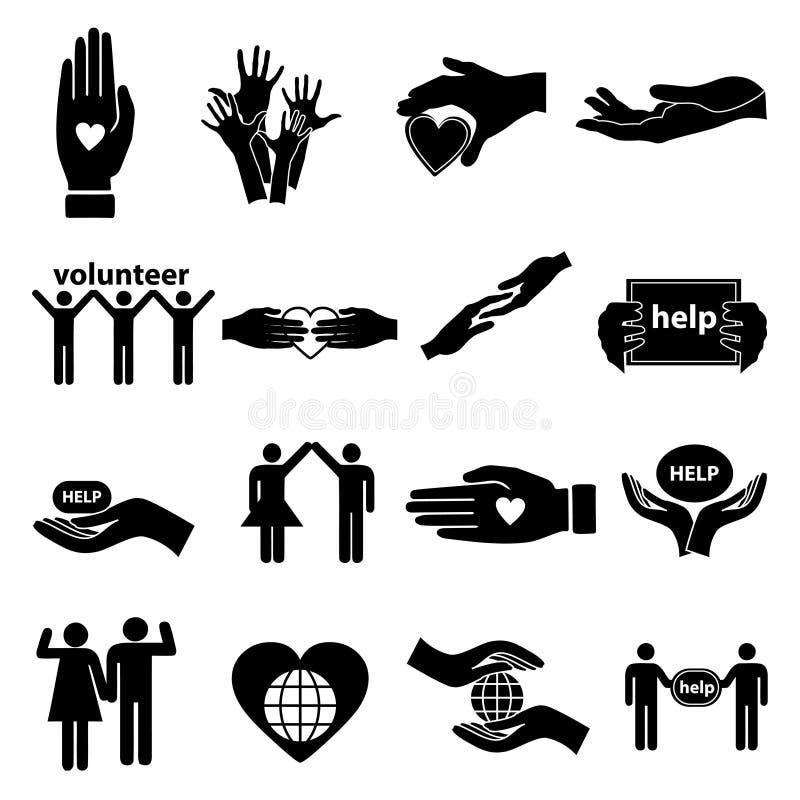 Icone d'aiuto volontarie messe illustrazione di stock