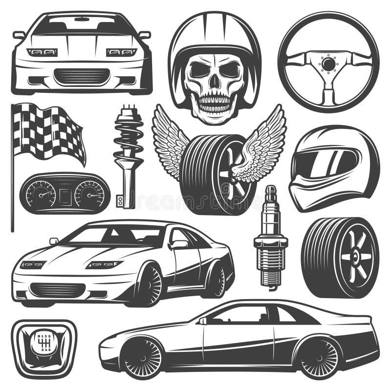 Icone d'annata di corsa di automobile messe royalty illustrazione gratis