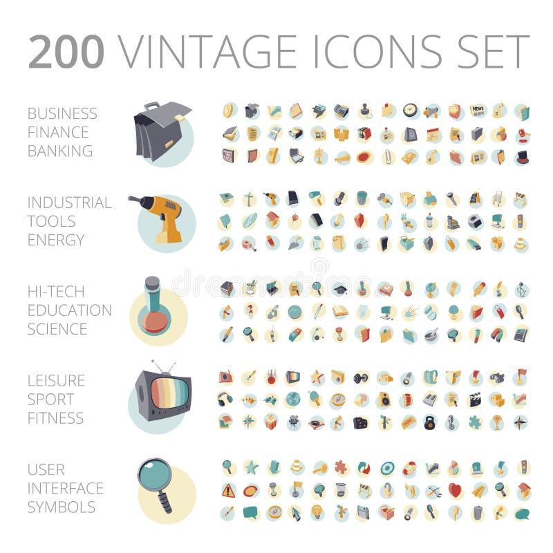 Icone d'annata messe per l'affare e la tecnologia illustrazione di stock