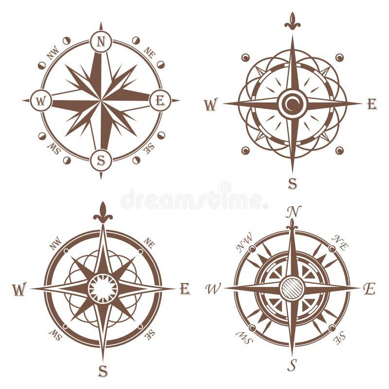Icone d'annata o vecchie isolate della rosa dei venti illustrazione di stock