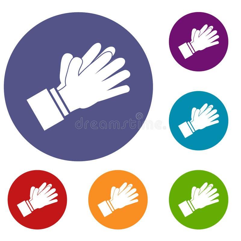 Icone d'applauso d'applauso delle mani messe illustrazione di stock