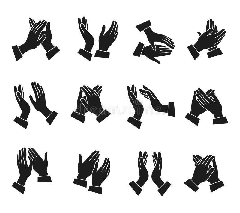 Icone d'applauso delle mani messe illustrazione vettoriale