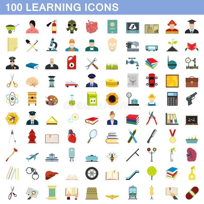 100 icone d'apprendimento messe, stile piano illustrazione vettoriale