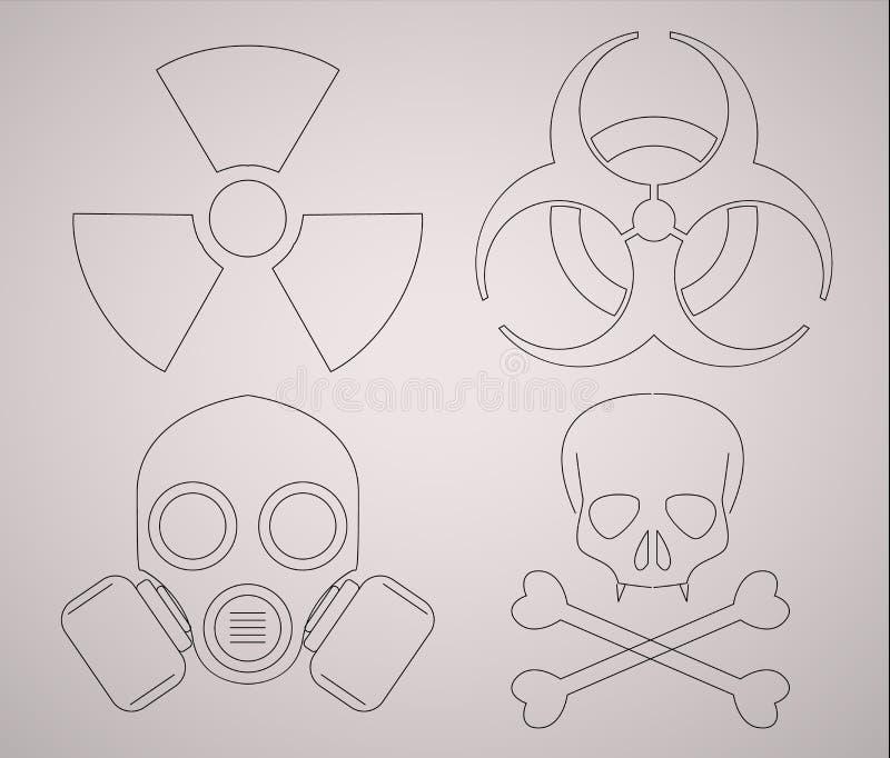 Icone d'avvertimento di rischio biologico Linea illustrazione del segno di stile illustrazione di stock