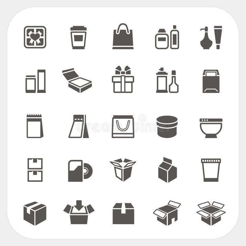 Icone d'imballaggio messe illustrazione di stock