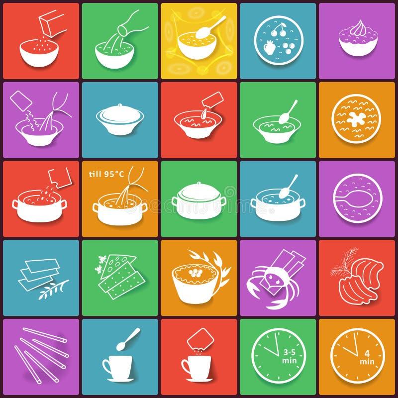 Icone d'imballaggio piane di processo di cottura degli alimenti a rapida preparazione messe illustrazione vettoriale