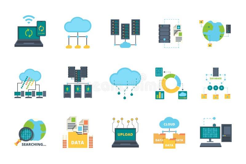 Icone database La rete di gestione cloud server elabora basi computer di sicurezza per il set di immagini piane vettoriali online illustrazione di stock