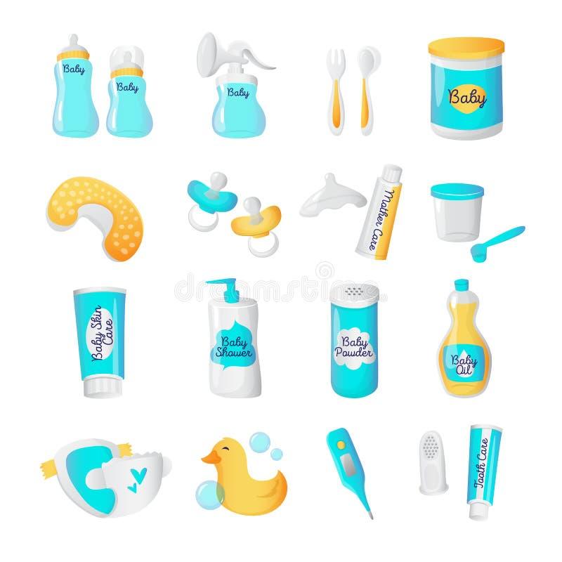 Icone degli accessori del bambino di vettore Oggetti neonati di stile del fumetto messi royalty illustrazione gratis