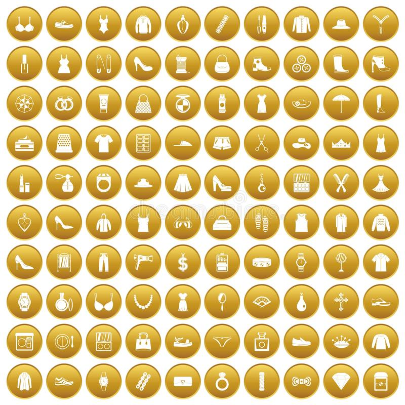 100 icone degli accessori delle donne hanno messo l'oro illustrazione di stock